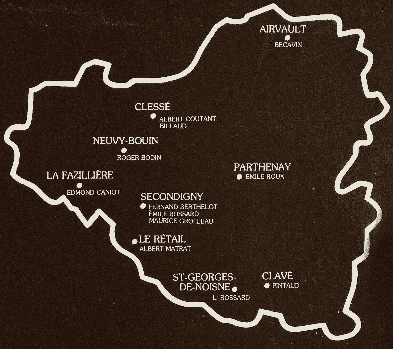 Carte des lieux de vie de violoneux traditionnels en Gâtine : Becavin, Billaud, Albert Coutant, Roger Bodin, Edmond Caniot, Emile Roux, Fernand Berthelot, Emile Rossard, Maurice Grolleau, Albert Matrat, L. Rossard, Pintaud.