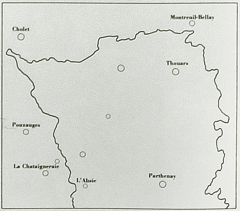 Communes limitrophes du secteur de noces d'Alfred entre 1927 et 1952.